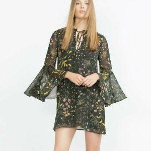Sara Basic Hunter Green Floral Midi Dress